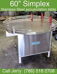 60 Simplex Stainless Steel Accumulation/turn Table