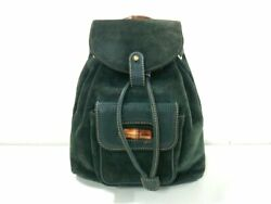Auth GUCCI Bamboo 003 58 0030 DarkGreen Suede Leather Backpack $273.00