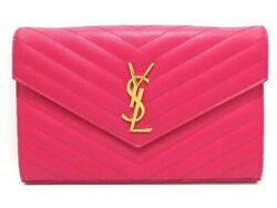 Auth SAINT LAURENT PARIS Monogram 377828 Pink Leather Other Style Wallet