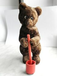 Rare Soviet Vintage Wind-up Mechanical Toy Plush Bear Mixing Honey In A Mortar