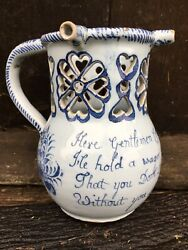 Superb English Delft Puzzlejug 1750 Faience Pottery Delftware 18th Century Xviie