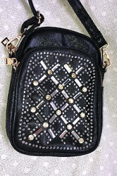 "Rhinestone Small Crossbody Purse NWOT 8"" x 5 34"" 2 Zipper Compartments  NEW $4.99"