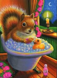 ACEO RED SQUIRREL CLAW FOOT BATH TUB BUBBLE BATH RUBBER DUCK CANDLE EVE PAINTING