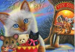 ACEO SIAMESE CAT TOY STORE TREE HOUSE CHIPMUNK RED SQUIRREL CHRISTMAS PAINTING