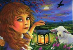 ACEO SHEPHERDESS WHITE LAMB SHEEP PASTORAL CANDLE LIGHT NIGHT BREEZE PAINTING