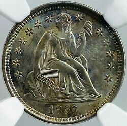 1857-o U.s. Seated Liberty Dime Graded Ms65 By Ngc