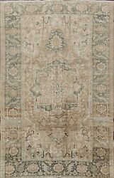 Antique Muted Heriz Distressed Hand-knotted Area Rug Evenly Low Pile Carpet 7x11