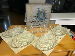 Vintage Federal Glass Snack Mcm Hospitality Set 4 Cups, 4 Plates In Original Box
