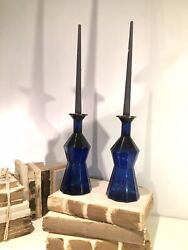 2 Blue Poison Bottle Blue Glass Candle Holders