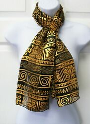 Women's Long Silk Feel Scarf Black & Gold Multicolor Geometric  Mothers Day Gift $7.99