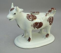 Cow Creamer, Pottery, Staffordshire, White And Brown. C.1840. Victorian.
