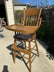 Antique Oak Bentwood Arm Vintage Wooden Baby Feeding Youth High Chair Swing Tray