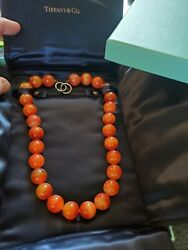 Orange Banded Agate Paloma Picasso Necklace 11mm Agate Beads Vintage