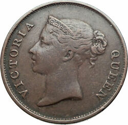 1845 Straits Settlements With Uk Queen Victoria Genuine Antique Cent Coin I81224