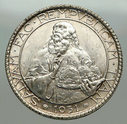 1931 R San Marino Italy Ostrich Feathers Old Silver Vintage 20 Lire Coin I84958