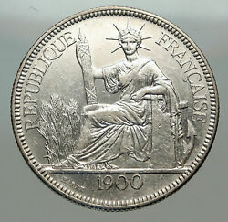 1900 A French Indo-china Antique Big Silver Piastre Coin France Republic I84962
