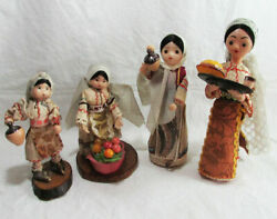 Antique Rubber Baby Doll Lot Of 4 Vintage Folk Baby Girls Toy Traditional Doll