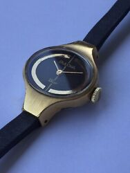 Bulova Dior Vintage Ladies Watch Gold Plated Authentic Omega Leather Strap Runs