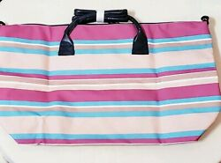 Women's Designer Multi-Color Striped Tote Bag Weekend Travel Reusable Grocery  $4.99