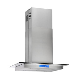 Island Mount Range Hood 30 / 36 Inch Touch Control Glass Stainless Steel 870 Cfm