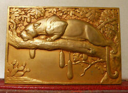 1936 Rare French Art Deco Cats 75mm Medal Plaque By Leopard Wild Animals