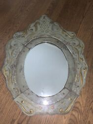 French Antique Verre Eglomise Mirror Painted Reverse Gilt Wood Gold Silver