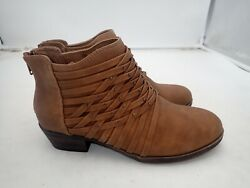 Womens SO Ankle Boots Booties Shoes Criss Cross Design Low Heels Brown size 6 $23.40