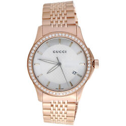 Ya126401 Diamond Watch White Dial 38mm Stainless Steel Rose Pvd 1.75 Ct.