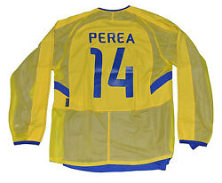 Boca Junior Jersey Perea Player Issue Shirt Nike L Yellow 18 Signed 2003 Copa