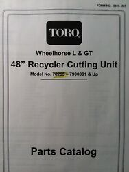Toro Wheel Horse Tractor 48 Mower Deck Implement 78265 Parts Catalog Manual 267h