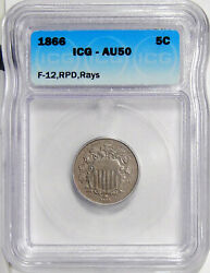 1866 Rays 5c Icg Au 50 Rpd Fletcher-12 Rare Repunched Date Variety Shield