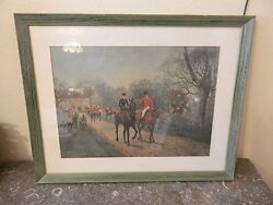 After The Hunt, English Fox Hunt Framed And Matted Lithograph Print By Blinks