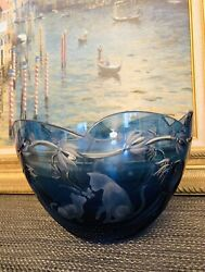 Lenox Etched Heavy Blue Crystal Bowl Limited Edition Cats Flowers Butterflies