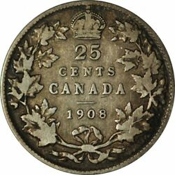 1908 Canada Twenty Five Cents - F/vf -key Date Circ Collector Coin-d264qsxt2
