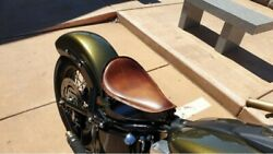 Spring Solo Seat Brass Rivets Harley Sportster Chopper 10x15 Brown Leather