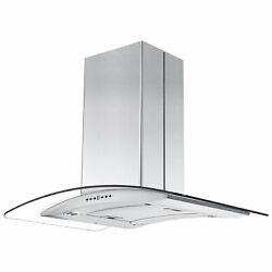Zline 36 Island Ceiling Mount Range Hood W/ Led Lights Stainless Steel And Glass