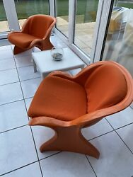 2 X Peter Ghyczy Spring Chair Lounge Sessel Reuter Form Life Collection + Tisch