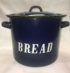 Vintage English Style Porcelain Enamelware Blue Bread Box Container W/ Lid