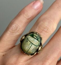 Antique 14k Etruscan Revival Faience Scarab Ring With Isis Shoulders