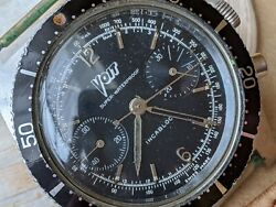 Vintage Voit Skin 666 Chronograph W/deep Patina,divers All Ss Case,runs Strong