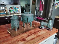 Mid Century Cast Metal James Mont Barware Ice Bucket And Pitcher Cigarette Box