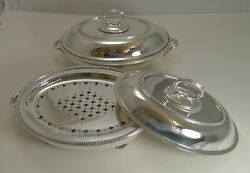 Fine Pair Antique Entree / Chafing Dishes By Stephen Smith And Son Of Covent Gar