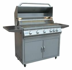 Professional 5 Burner 40 Inch Cart Model Bbq Grill With Lights And Locking Casters