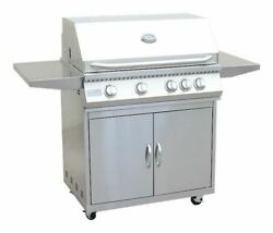 4 Burner 32 Inch Cart Model Bbq Grill With Locking Casters 304 Stainless Steel