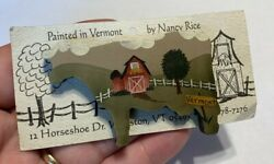 Vintage Hand-painted Wood Cow Brooch Pin, Nancy Rice Williston, Vermont