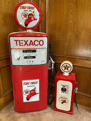 Vintage Gilbert And Barker Gas Pump And Mini Collectable Texaco Fire Chief