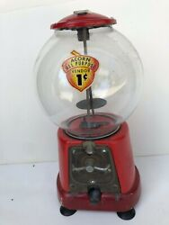Advance Model D With Acorn Decal Antique Penny Gum Ball Machine Working Cond.