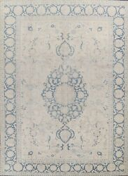 Antique Geometric Muted Light Beige Sarouk Area Rug Hand-knotted Low Pile 9and039x12and039