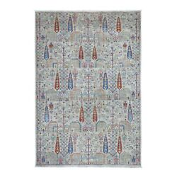 6and039x9and039 Gray With Pop Of Color Willow And Cypress Tree Design Hand Made Rug R54817