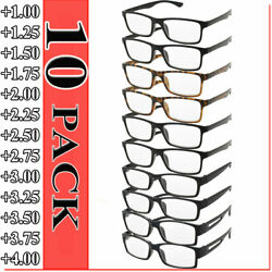 Reading Glasses Mens Womens 10 PACK Square Unisex Frames Readers Style NEW Lot $16.95